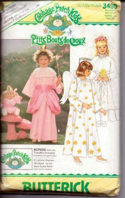 Butterick 3490 Girls Fairy Bride Angel Cabbage Patch Kids Vintage 1980's Sewing Costume Pattern - VintageStitching - Vintage Sewing Patterns