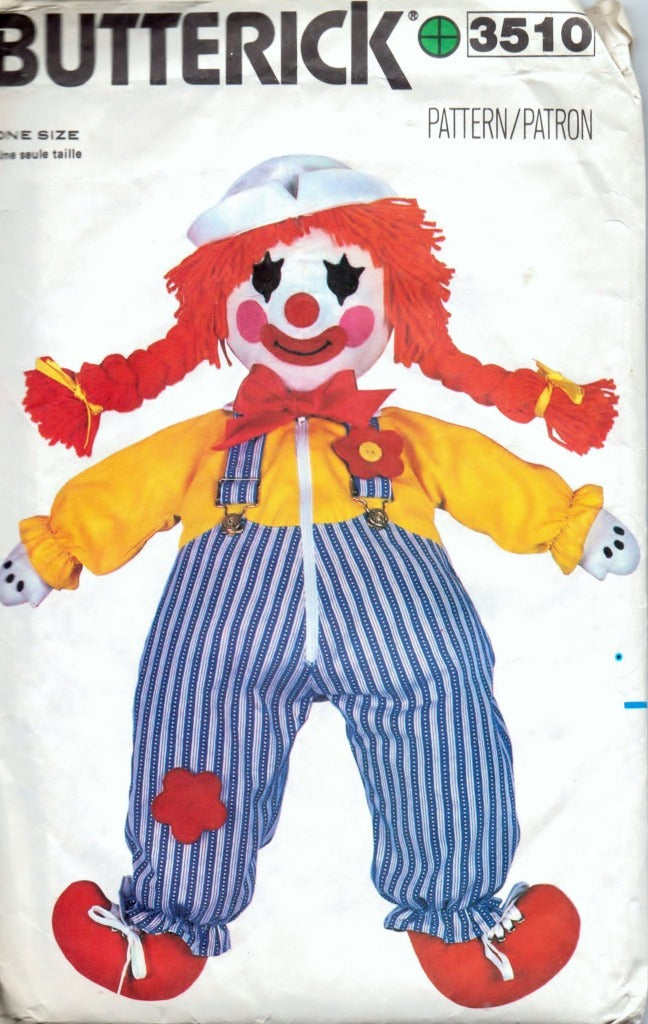Butterick 3510 Clown Learning Doll Vintage Craft Sewing Pattern 1980's - VintageStitching - Vintage Sewing Patterns