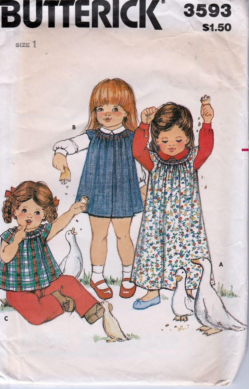 Butterick 3593 Vintage 80's Sewing Pattern Toddlers Dress Top - VintageStitching - Vintage Sewing Patterns
