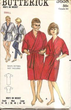 Butterick 3658 Vintage 1960's Sewing Pattern Mens or Ladies Mini Knee Length Bath Robe Housecoat - VintageStitching - Vintage Sewing Patterns