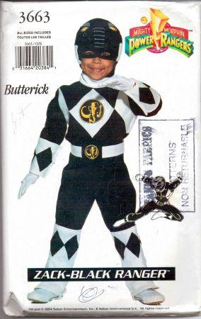 Butterick 3663 Power Rangers Black Ninja Halloween Costume Sewing Pattern Vintage - VintageStitching - Vintage Sewing Patterns