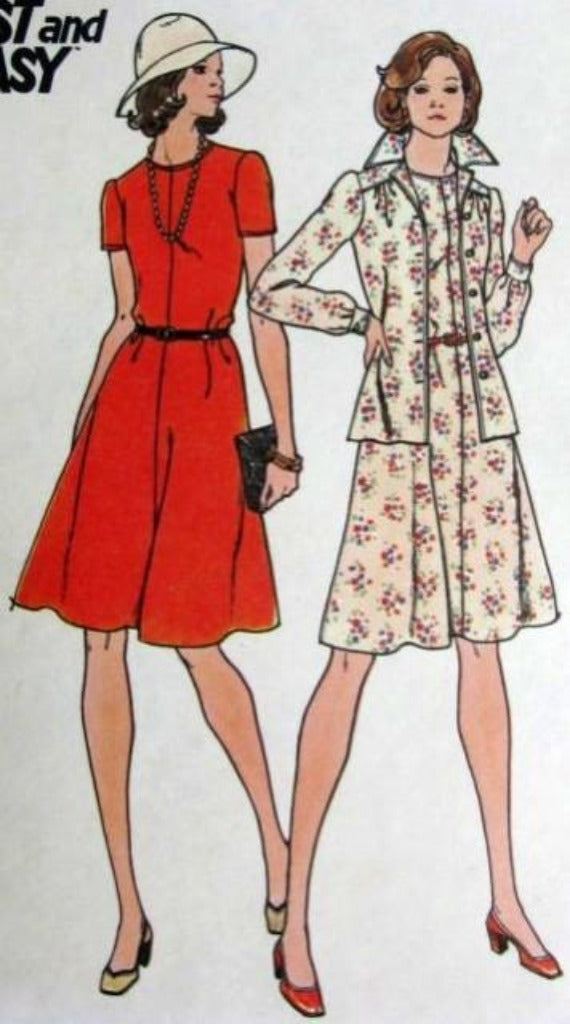 Butterick 3912 Ladies Unlined Jacket Flared Mini Dress Vintage 1970's Sewing Pattern - VintageStitching - Vintage Sewing Patterns
