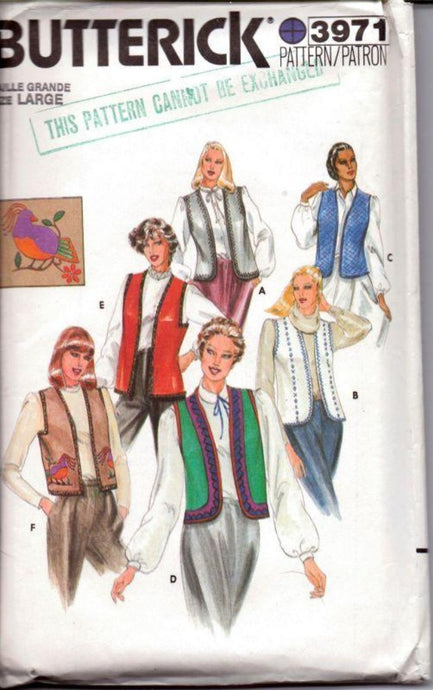 Butterick 3971 Vintage 1980's Sewing Pattern Ladies Vest Round or Square Armholes Size Large - VintageStitching - Vintage Sewing Patterns