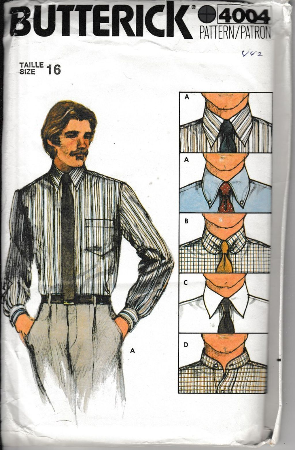 Butterick 4004 Mens' Shirt Collar Variations Vintage 1980's Sewing Pattern - VintageStitching - Vintage Sewing Patterns