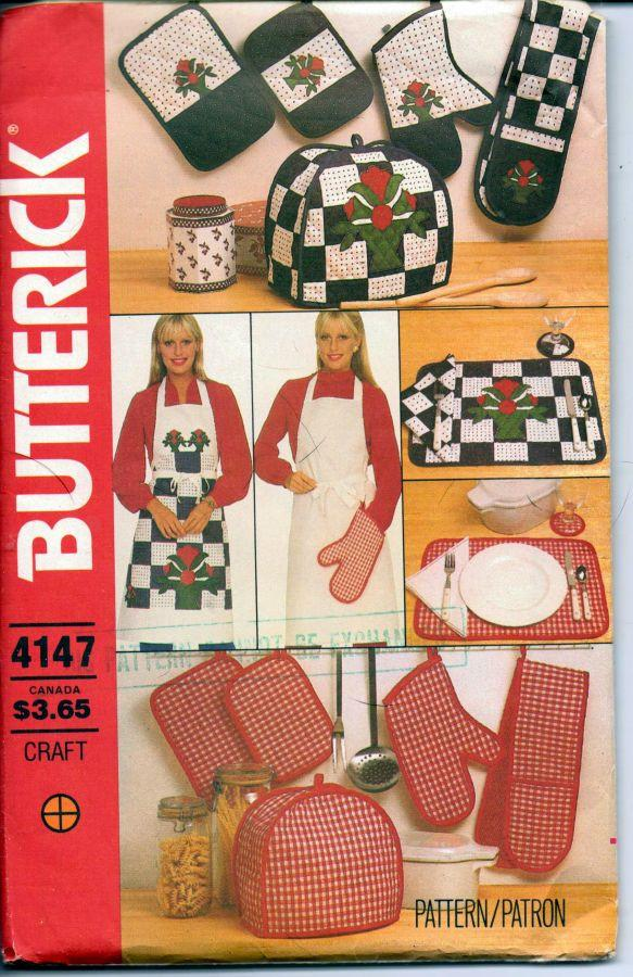 Butterick 4147 Sewing Craft Pattern Kitchen Accessories Apron Quilted Fabric - VintageStitching - Vintage Sewing Patterns