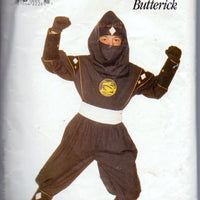 Butterick 4180 Black Ninja Power Ranger Halloween Costume Pattern Children Boy Girl - VintageStitching - Vintage Sewing Patterns
