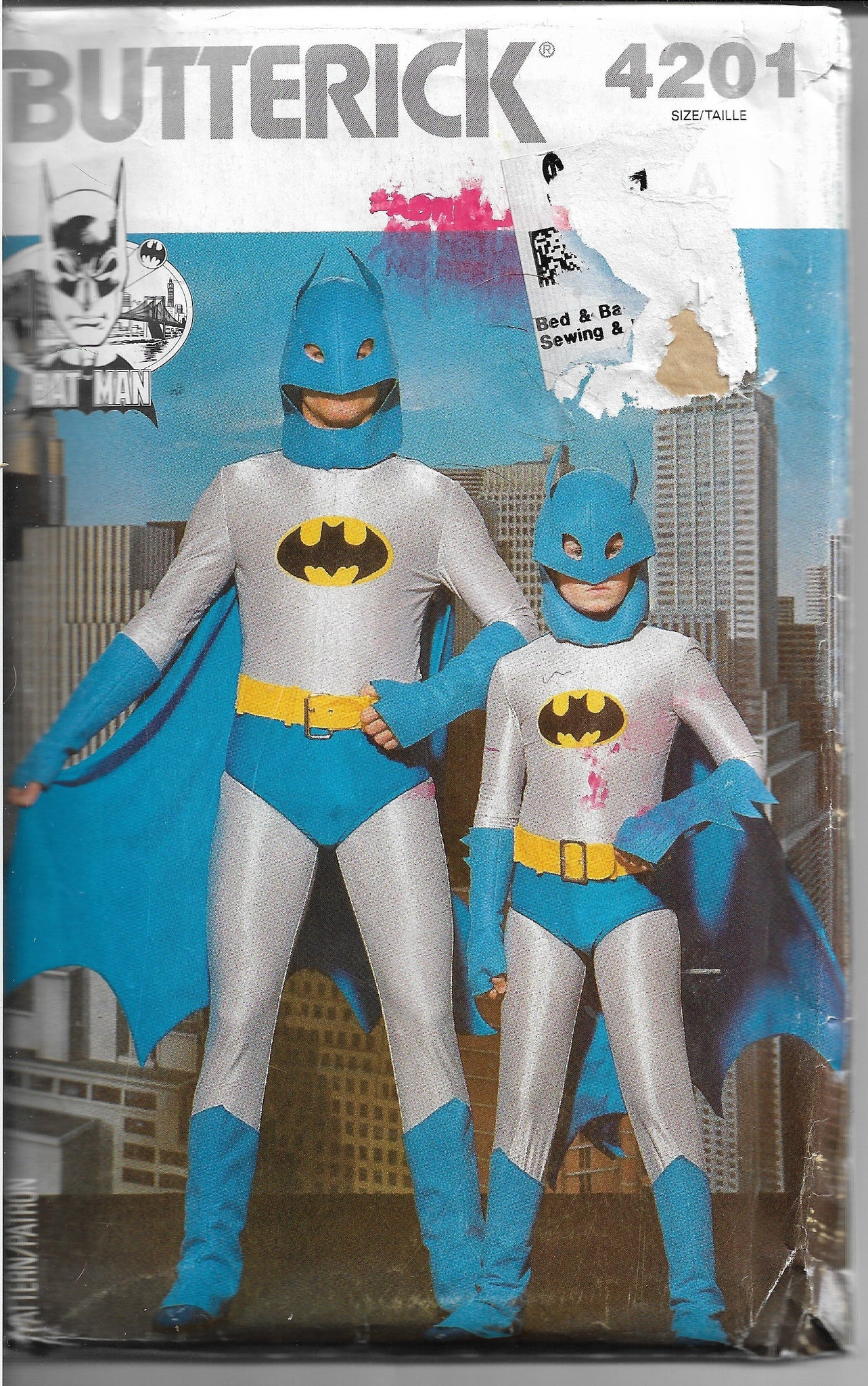 Butterick 4201 Mens Batman Halloween Costume Vintage  1980s Sewing Pattern - VintageStitching - Vintage Sewing Patterns