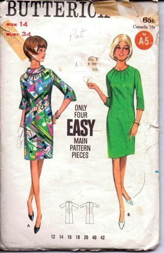 Butterick 4312 Ladies One Piece Mod Dress Rolled Collar Bell Sleeves Vintage 1960's Sewing Pattern - VintageStitching - Vintage Sewing Patterns