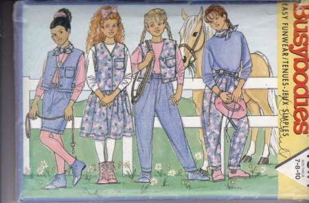 Butterick 4341 Busybodies Vintage 1980's Sewing Pattern Girls Vest Top Skirt Pants - VintageStitching - Vintage Sewing Patterns