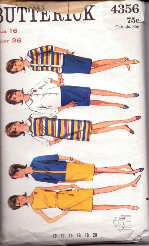 Butterick 4356 Vintage 1960's Sewing Pattern Ladies Jumper Dress Box Jacket Blouse Skirt Separates - VintageStitching - Vintage Sewing Patterns