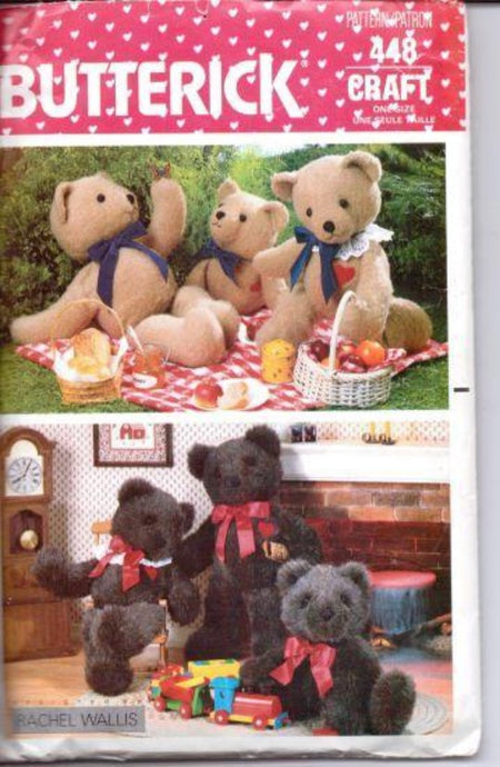 Butterick 448 Stuffed Bear Vintage Sewing Craft Pattern 1980's - VintageStitching - Vintage Sewing Patterns