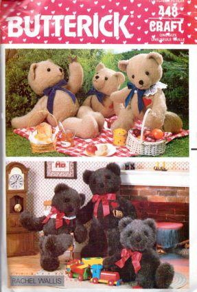 Butterick 448 Stuffed Bear in three sizes Vintage 1980's Sewing Craft Pattern - VintageStitching - Vintage Sewing Patterns