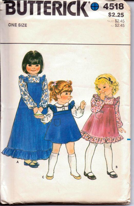 Butterick 4518 Vintage 1980's Sewing Pattern Toddlers' Dress Jumper Ruffle Trim Blouse All Sizes - VintageStitching - Vintage Sewing Patterns