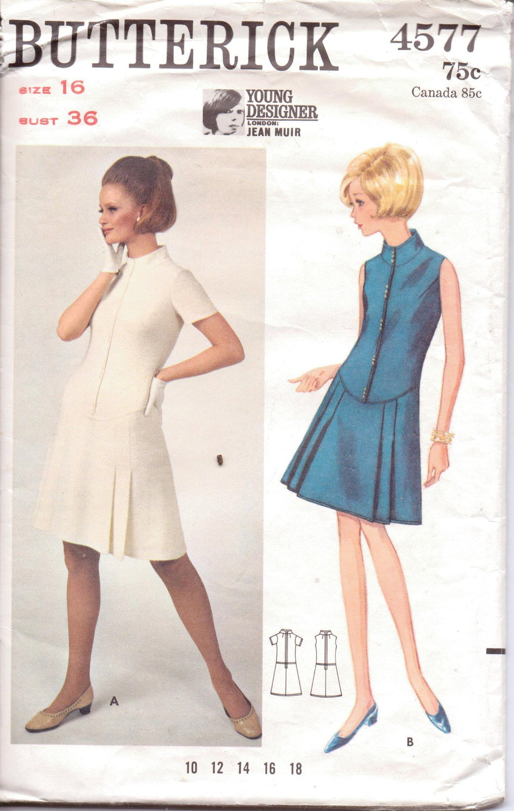 Butterick 4577 Ladies A-Line Dress Low Waist Jean Muir Young Designer Vintage 1960's Sewing Pattern - VintageStitching - Vintage Sewing Patterns