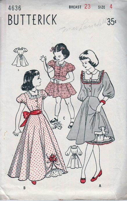 Butterick 4636 Little Girls Dress Gown Petticoat Vintage Sewing Pattern 1940's - VintageStitching - Vintage Sewing Patterns