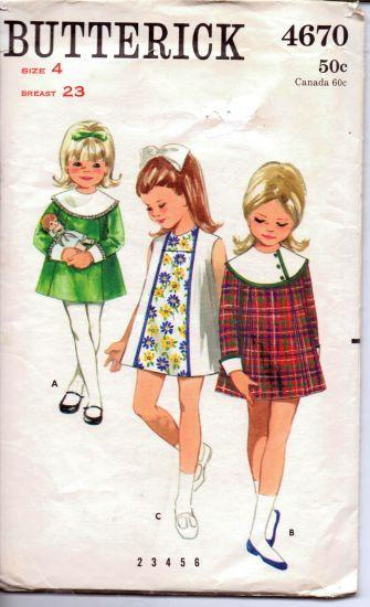 Butterick 4670 Girls A-Line School Party Mini Dress Ribbon Trim Princess Seam Vintage Sewing Pattern 1960's - VintageStitching - Vintage Sewing Patterns