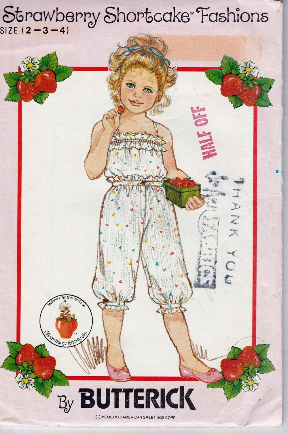 Butterick 4888 Vintage 80's Sewing Pattern Girls Toddler Camisole Knickers Strawberry Shortcake - VintageStitching - Vintage Sewing Patterns