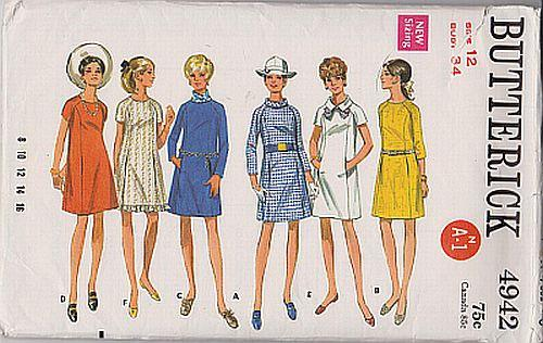 Butterick 4942 Misses Mod One Piece A-Line Dress Raglan Sleeves Vintage 1970's Sewing Pattern - VintageStitching - Vintage Sewing Patterns