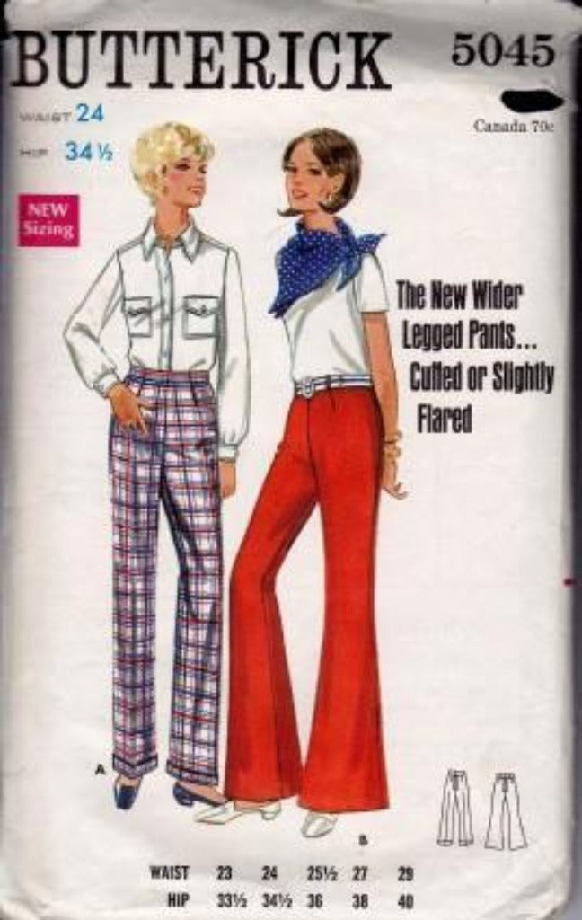 Butterick 5045 Ladies Bell Bottom Darted Flared Pants Cuffed Vintage 1960's Sewing Pattern - VintageStitching - Vintage Sewing Patterns