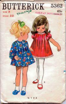 Butterick 5362 Toddlers One-Piece Mini A-line Dress Vintage 1960's Sewing Pattern - VintageStitching - Vintage Sewing Patterns