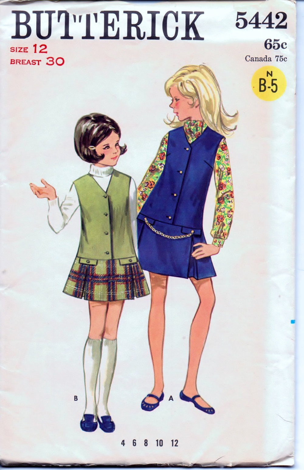 Butterick 5442 Young Girls Jumper Dress Vintage 1960's Sewing Pattern - VintageStitching - Vintage Sewing Patterns