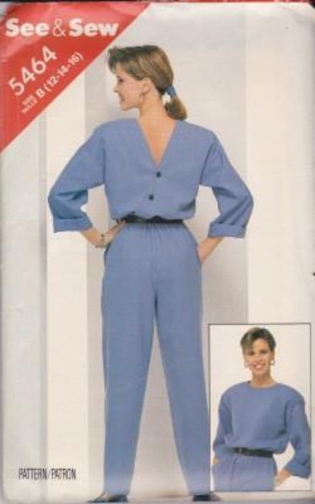Butterick 5464 See & Sew Misses Loose Fitting Jumpsuit Vintage 1980's Sewing Pattern - VintageStitching - Vintage Sewing Patterns