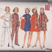 Butterick 5551 Misses Coat Mini Dress Flared Skirt Bell Bottom Vintage 70's Sewing Pattern - VintageStitching - Vintage Sewing Patterns