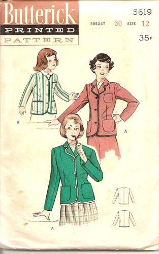 Butterick 5619 1950's Vintage Sewing Pattern Girls' Blazer Jacket Waistlength Long Sleeves - VintageStitching - Vintage Sewing Patterns