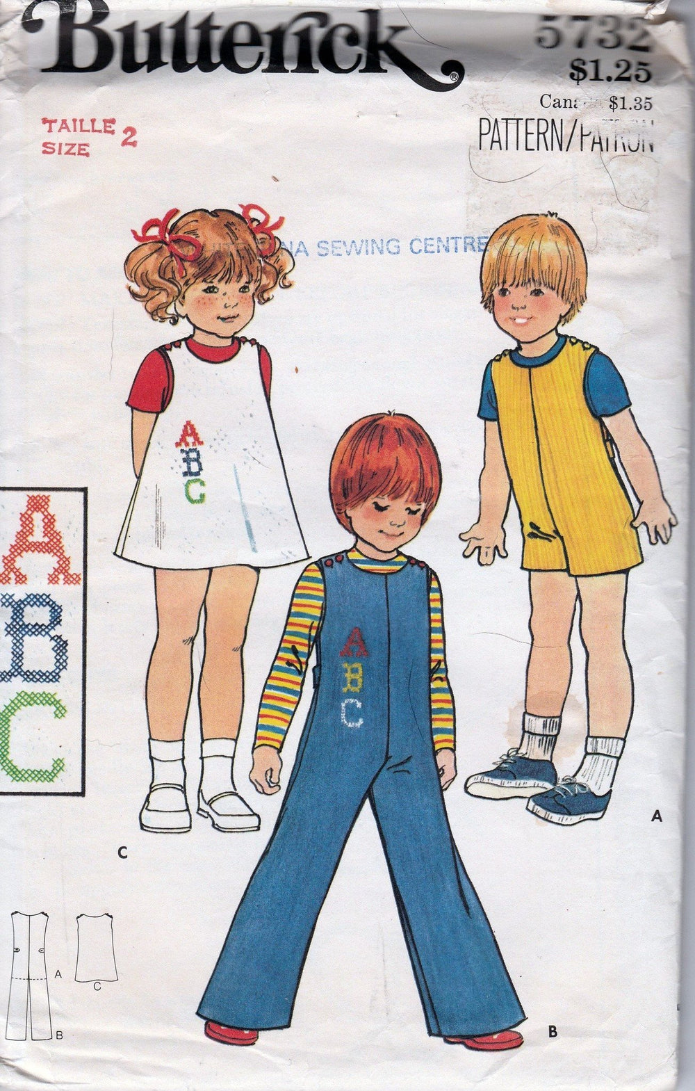 Butterick 5732 Toddler Jumpsuit Jumper Dress Vintage Pattern 1970's - VintageStitching - Vintage Sewing Patterns