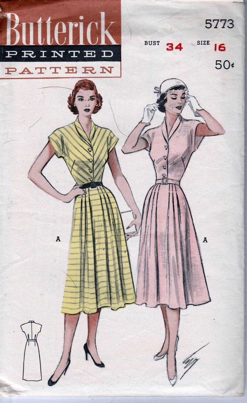 Butterick 5773 Vintage 1950's Sewing Pattern Ladies Casual Shirtwaist House Dress - VintageStitching - Vintage Sewing Patterns