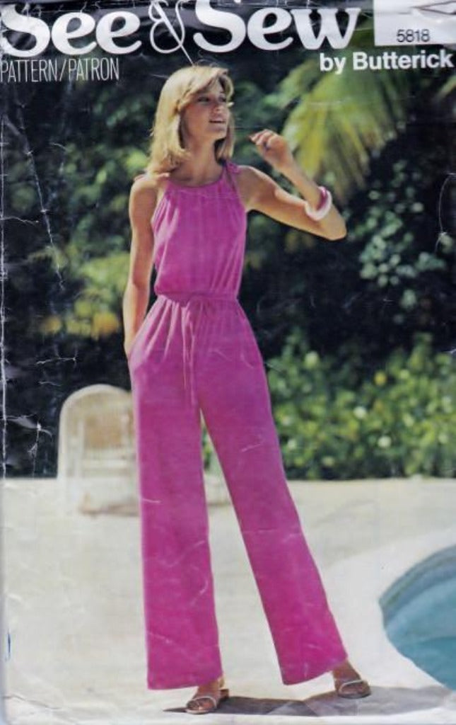 Butterick 5818 See & Sew Ladies Jumpsuit Vintage 1980's Pattern - VintageStitching - Vintage Sewing Patterns