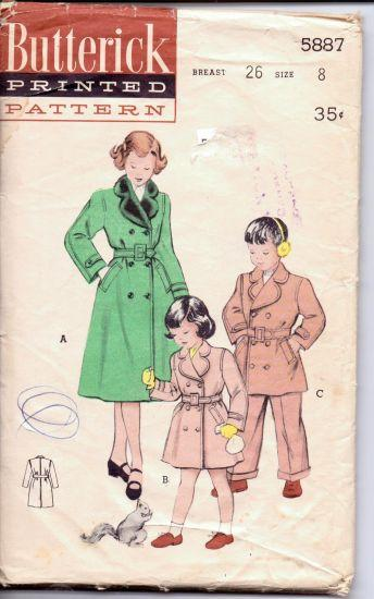 Butterick 5887 Girl Boy Double Breasted Reefer Coat Belted Vintage 1950's Sewing Pattern - VintageStitching - Vintage Sewing Patterns