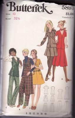 Butterick 5893 Ladies Jumper Dress Tunic Skirt Bell Bottom Disco Pants Vintage 1970's Sewing Pattern - VintageStitching - Vintage Sewing Patterns