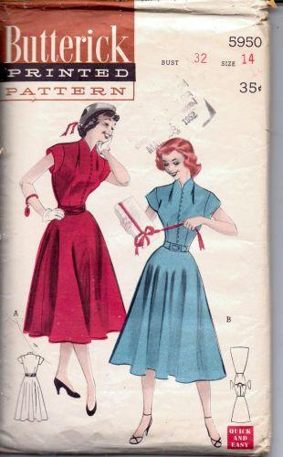 Butterick 5950 Teen Rockabilly Party Swing Dress with Cummerbund Vintage Sewing Pattern - VintageStitching - Vintage Sewing Patterns