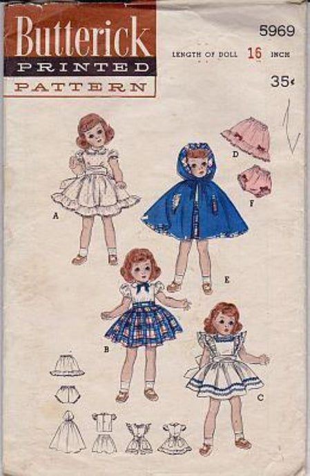 Butterick 5969 Toni Doll Clothes Dress Pinafore Petticoat Cape 16 inch Vintage 50's Sewing Pattern - VintageStitching - Vintage Sewing Patterns