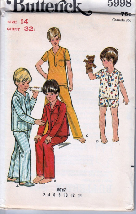 Butterick 5998 Vintage 1970's Sewing Pattern Boys Pajamas Two Piece - VintageStitching - Vintage Sewing Patterns