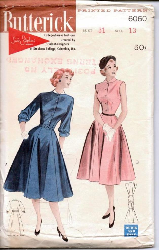 Butterick 6060 Vintage 1950's Sewing Pattern Ladies Junior Dress Charming Bell Skirt - VintageStitching - Vintage Sewing Patterns