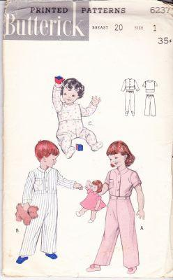 Butterick 6237 Vintage Pattern Childrens Footed Cuddly Pajamas Buttoned Pants PJ's Toddler 1950's - VintageStitching - Vintage Sewing Patterns
