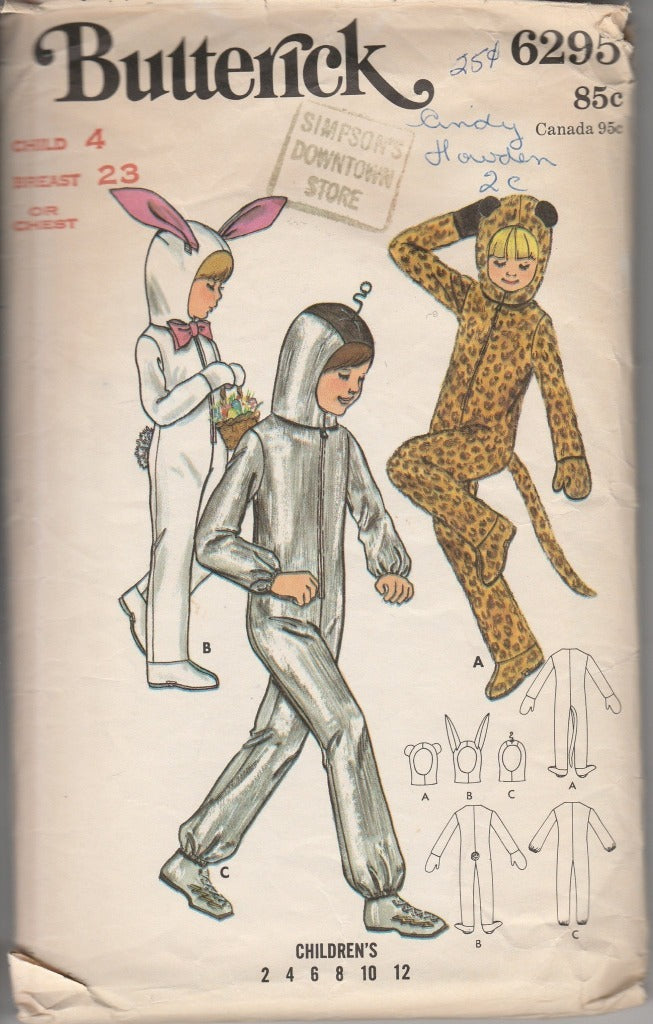 Butterick 6295 Childrens Leopard Bunny Spaceman Vintage 1970's Sewing Pattern Boys Girls - VintageStitching - Vintage Sewing Patterns