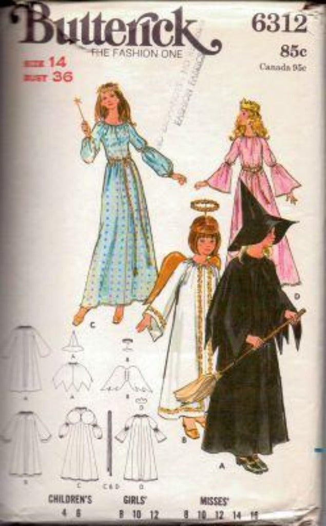 Butterick 6312 Witch Angel Fairy Princess Halloween Costume Vintage Sewing Pattern 1970's - VintageStitching - Vintage Sewing Patterns