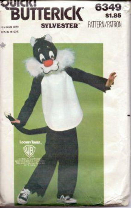 Butterick 6349 Boys Girls Sylvester Cat Halloween Costume Pattern Looney Tunes  1970's - VintageStitching - Vintage Sewing Patterns