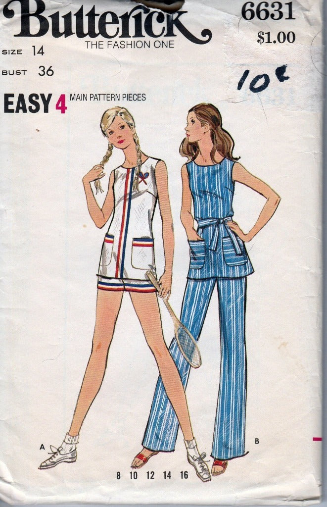 Butterick 6631 Ladies Tennis Outfit Tunic Shorts Pants Vintage Pattern 1970's - VintageStitching - Vintage Sewing Patterns