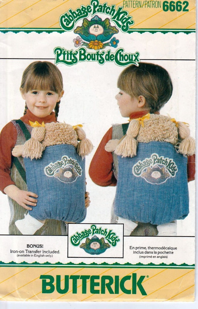 Butterick 6662 Cabbage Patch Kids Carrier Vintage Sewing Craft Pattern 1980's - VintageStitching - Vintage Sewing Patterns