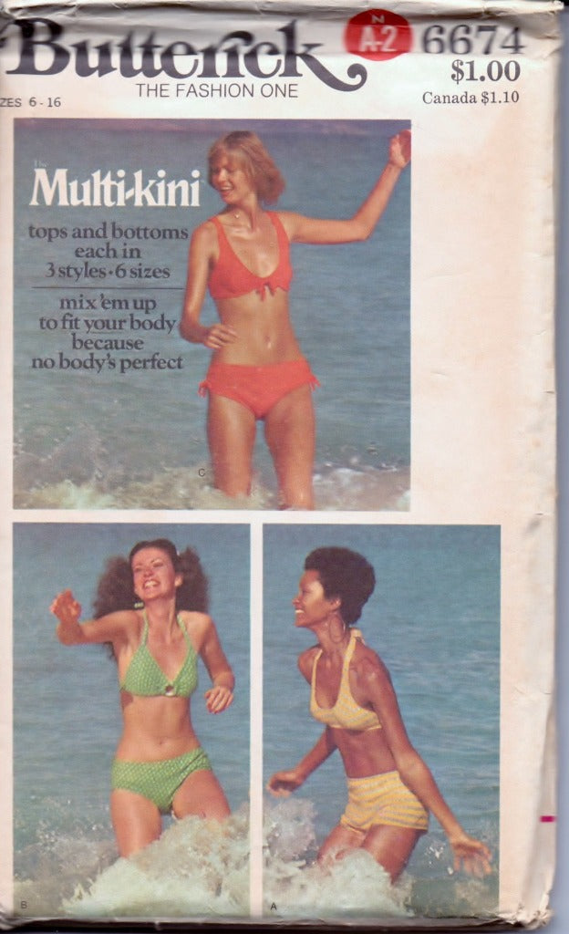 Butterick 6674 Ladies Bikini Swimsuit Bathing Suit Two Piece Vintage 1970's Sewing Pattern - VintageStitching - Vintage Sewing Patterns