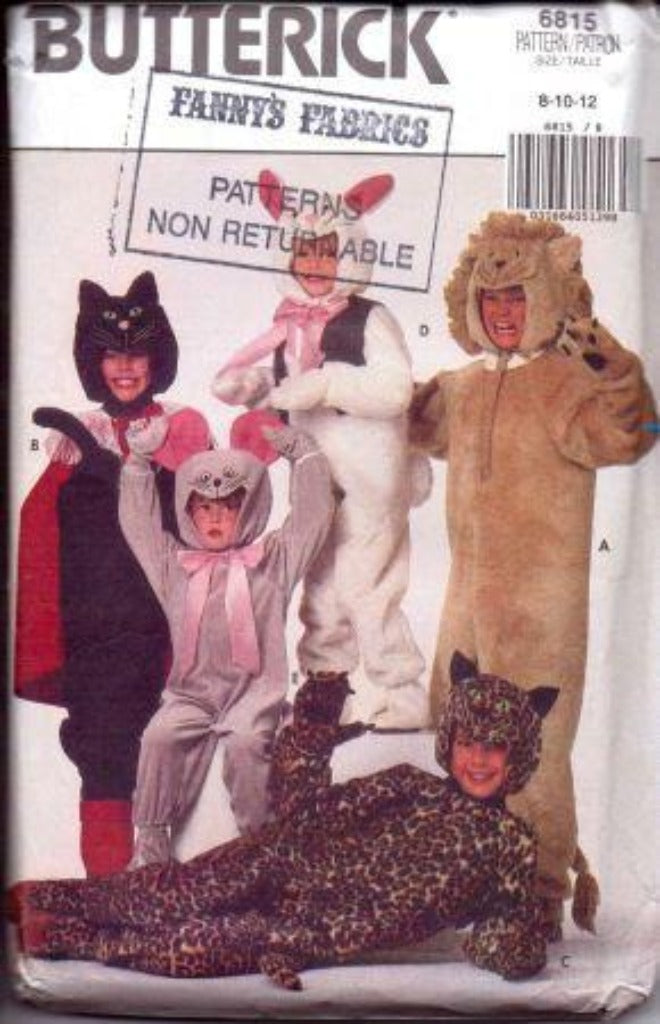 Butterick 6815 Boy Girl Rabbit Mouse Cat Lion Halloween Costume Pattern Vintage - VintageStitching - Vintage Sewing Patterns