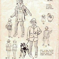 Butterick 6824 Toddler Sunsuit Pleated Shorts Jacket Hat Vintage 1940's Sewing Pattern Unprinted - VintageStitching - Vintage Sewing Patterns