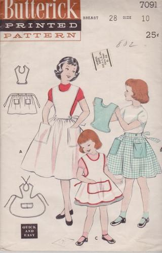 Butterick 7091 Girls 6 Piece School Apron Vintage 1950's Pattern - VintageStitching - Vintage Sewing Patterns