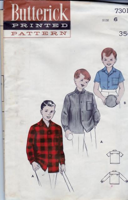Butterick 7301 Boys Sport Shirt Yoke Back Vintage 1950's Sewing Pattern - VintageStitching - Vintage Sewing Patterns