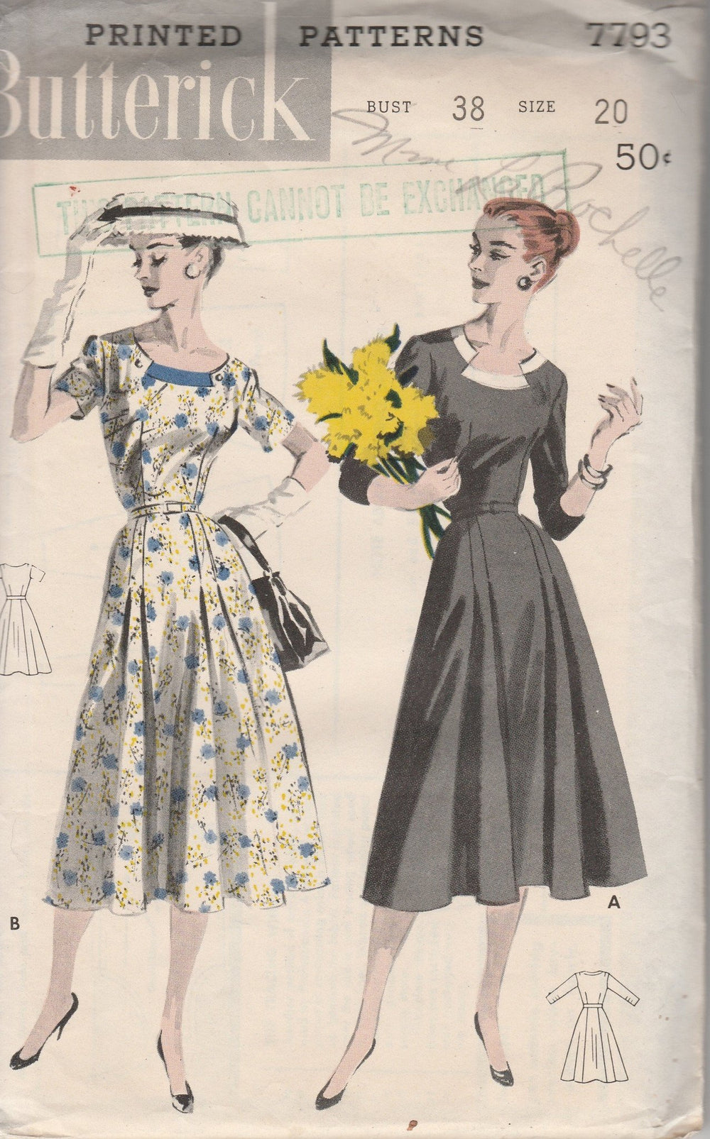 Butterick 7793 Ladies Dress Scooped Keyhole Neckline Vintage 1950's Sewing Pattern - VintageStitching - Vintage Sewing Patterns