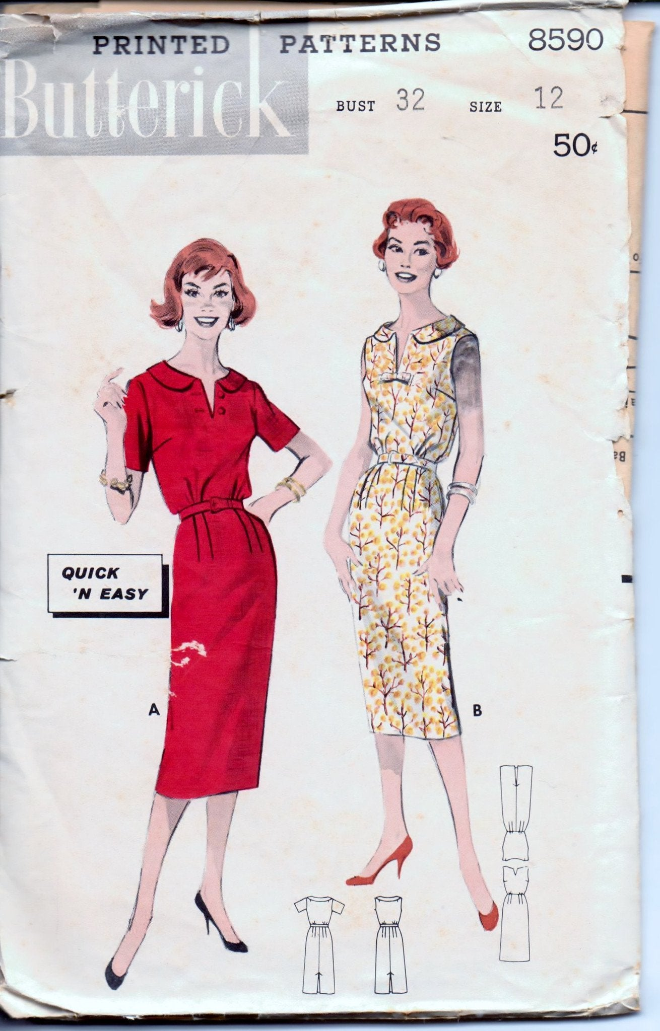Butterick 8590 Ladies Bloused Dress Vintage 1950's Sewing Pattern - VintageStitching - Vintage Sewing Patterns
